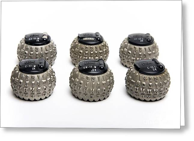 Component Photographs Greeting Cards - Ibm Selectric Typeballs, 1970s Greeting Card by Victor de Schwanberg