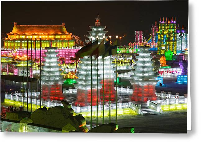 Chinese Architecture And Art Greeting Cards - Ice Buildings At The Harbin Greeting Card by Panoramic Images