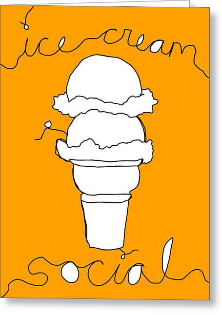 Party Invite Greeting Cards - Ice Cream Social Greeting Card by Asyrum Dseign