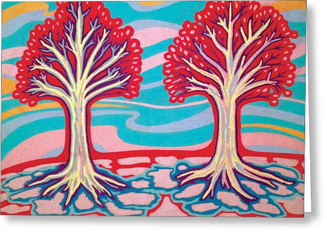 Tree Roots Pastels Greeting Cards - Ice Cream Trees Greeting Card by Mike Manzi