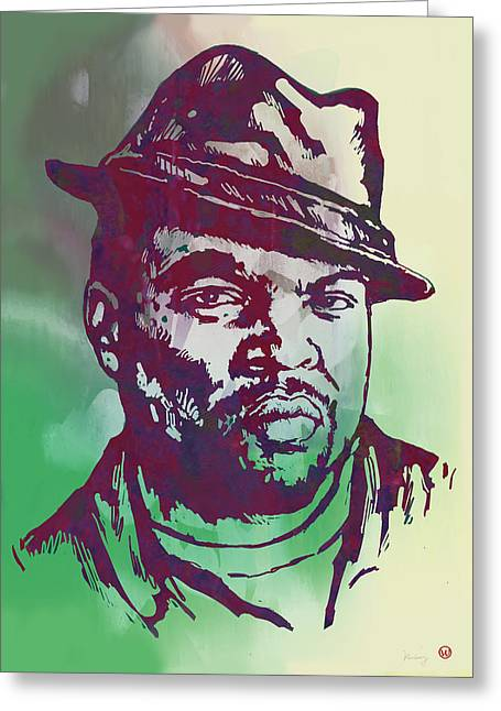 Music And Art Greeting Cards - Ice Cube pop art etching poster Greeting Card by Kim Wang