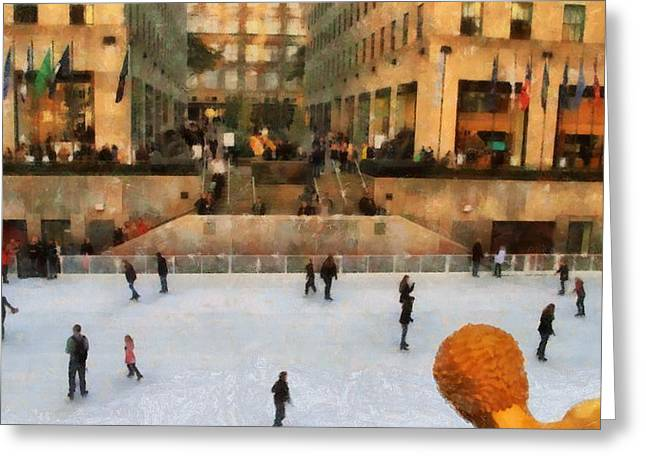 Ice-skating Mixed Media Greeting Cards - Ice Skating In New York City Greeting Card by Dan Sproul