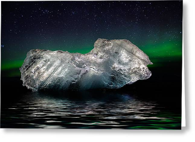 Color Green Greeting Cards - Ice With The Aurora Borealis. Ice Greeting Card by Panoramic Images