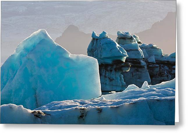 Temperature Greeting Cards - Icebergs At The Jokulsarlon Glacial Greeting Card by Panoramic Images