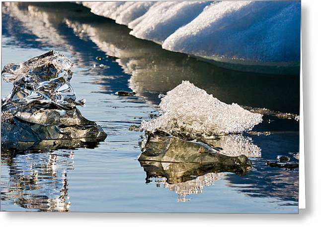 Glacial Greeting Cards - Icebergs, Jokulsarlon Glacial Lagoon Greeting Card by Panoramic Images