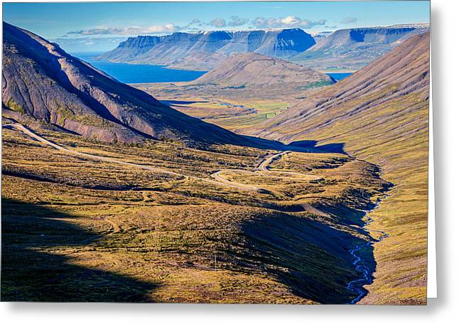 Gravel Road Greeting Cards - Icelandic fjords Greeting Card by Alexey Stiop