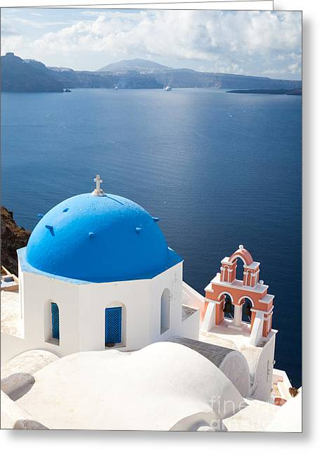 Greek Icon Greeting Cards - Iconic blue domed churches in Oia Santorini Greece Greeting Card by Matteo Colombo