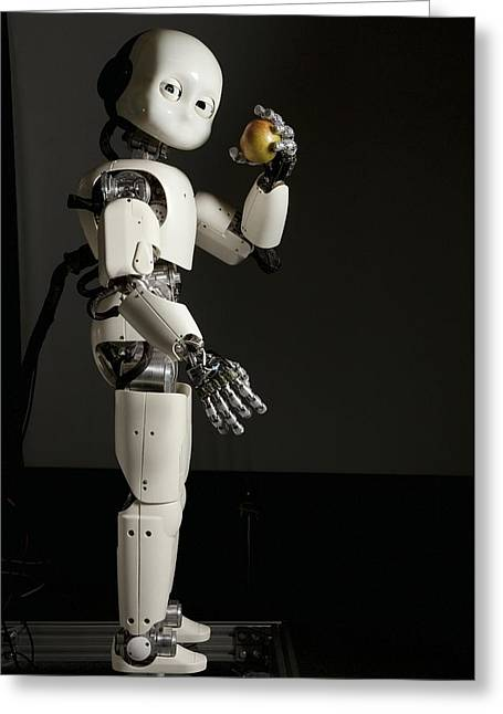 Spatial Skills Greeting Cards - iCub robot Greeting Card by Science Photo Library