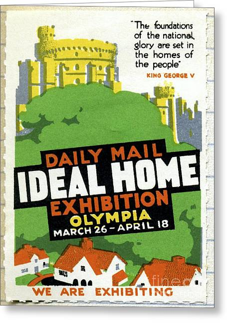 Recently Sold -  - Endorsement Greeting Cards - Ideal Home Exhibition Stamp, 1920 Greeting Card by CCI Archives