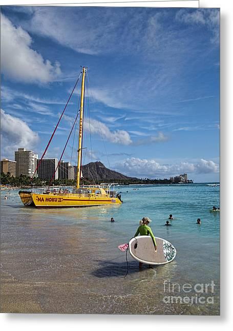 Catamaran Greeting Cards - Idyllic Waikiki Beach Greeting Card by David Smith