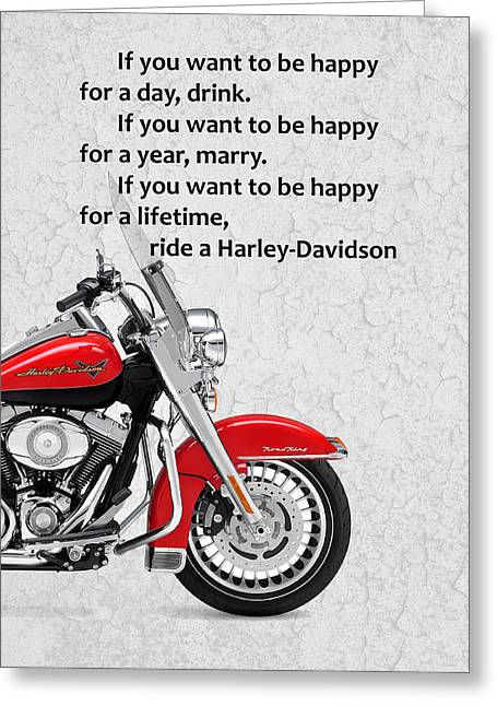 Harley Davidsons Greeting Cards - If you want to be happy Greeting Card by Mark Rogan