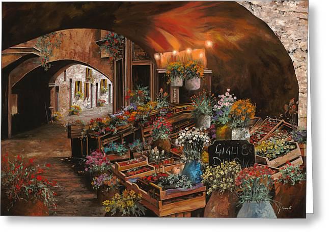 Market Greeting Cards - Il Mercato Dei Fiori Greeting Card by Guido Borelli