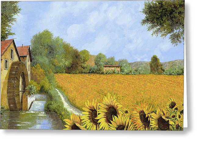 White Roads Greeting Cards - Il Mulino E I Girasoli Greeting Card by Guido Borelli