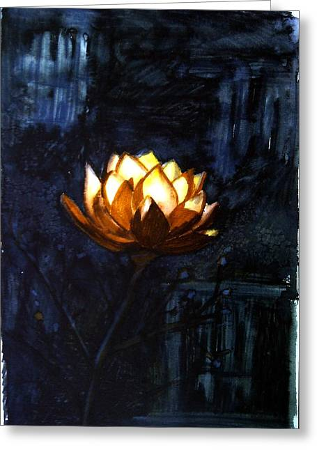 Tara Thelen Greeting Cards - Illuminated Lotus Greeting Card by Tara Thelen