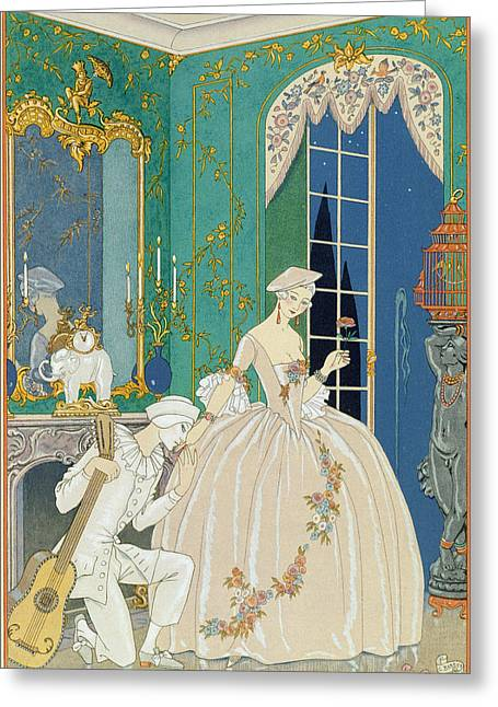 Pierrot Greeting Cards - Illustration for Fetes Galantes Greeting Card by Georges Barbier