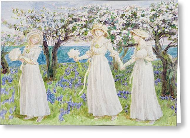 White Dress Greeting Cards - Illustration For St. Valentines Day, 1914 Wc On Paper Greeting Card by Kate Greenaway