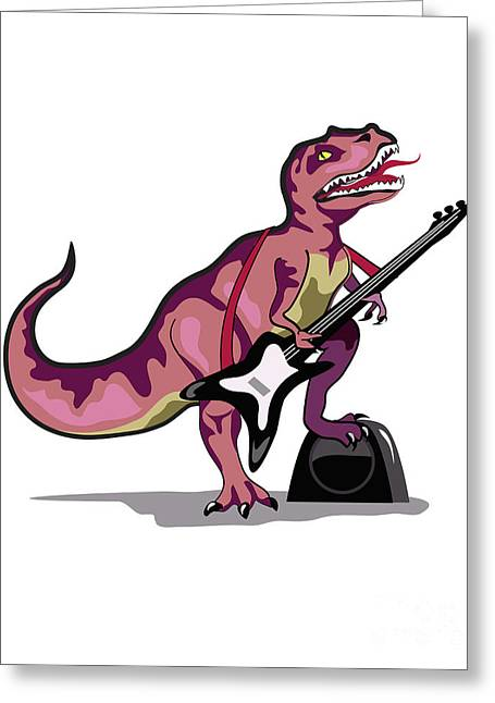 Playing Musical Instruments Greeting Cards - Illustration Of Tyrannosaurus Rex Greeting Card by Stocktrek Images