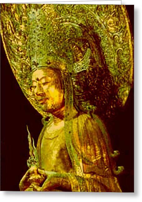 Horyuji Greeting Cards - Image of Buddha2 Greeting Card by Yoko Nakai