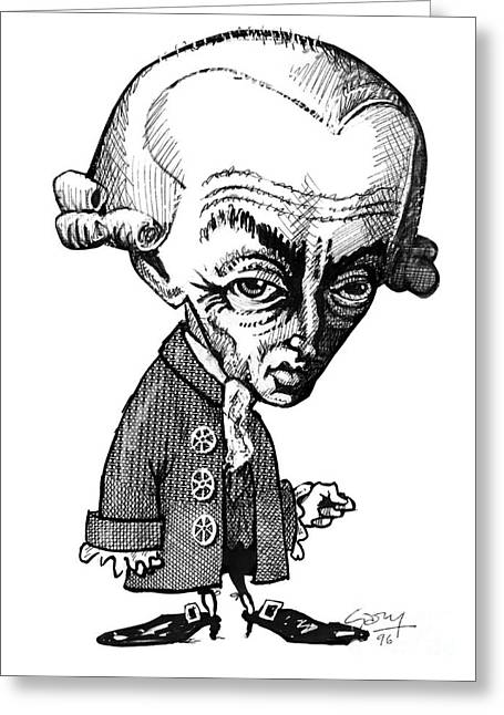Hypothesis Greeting Cards - Immanuel Kant, Caricature Greeting Card by Gary Brown