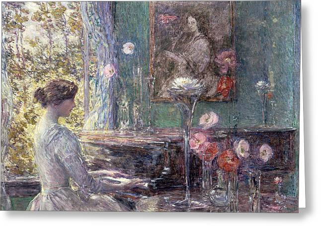 Improvisation Greeting Card by Childe Hassam