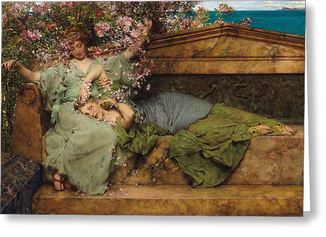 Playful Greeting Cards - In a Rose Garden Greeting Card by Sir Lawrence Alma Tadema
