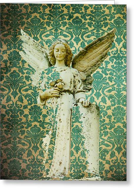 Angel Digital Greeting Cards - In Damask Greeting Card by Gothicolors Donna Snyder