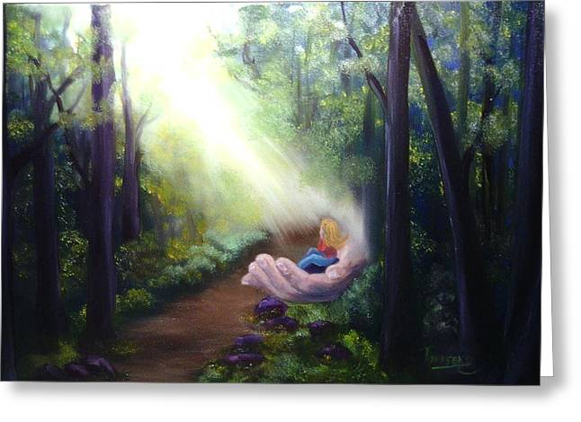 Sun Rays Paintings Greeting Cards - In Gods Hand Greeting Card by Connie Townsend