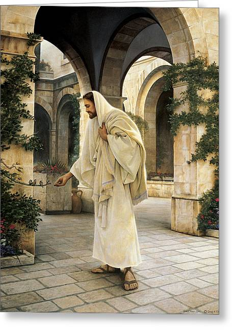 Feeding Greeting Cards - In His Constant Care Greeting Card by Greg Olsen