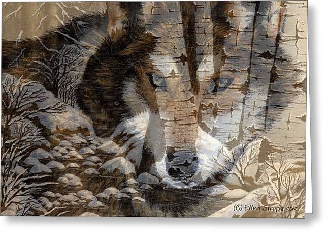 Wolf Creek Greeting Cards - In Memory of the Wedge Wolf Pack #1 Greeting Card by Ellen Strope