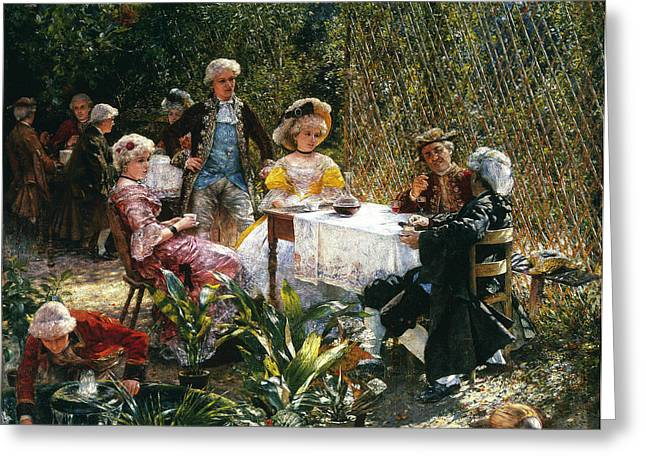 Arbour Greeting Cards - In the Arbour Greeting Card by Aleksander Gierymski