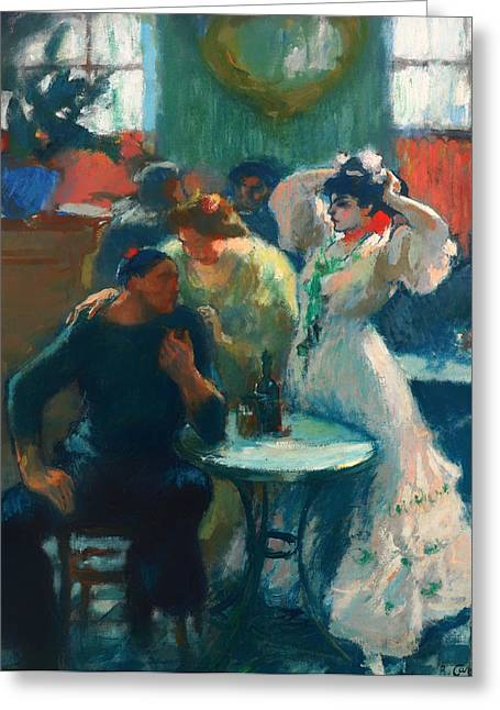 Men Drinking Greeting Cards - In the Bar Greeting Card by Ricard Canals