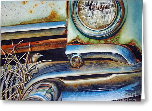 Headlight Paintings Greeting Cards - In the Beaten Path Greeting Card by Greg Halom