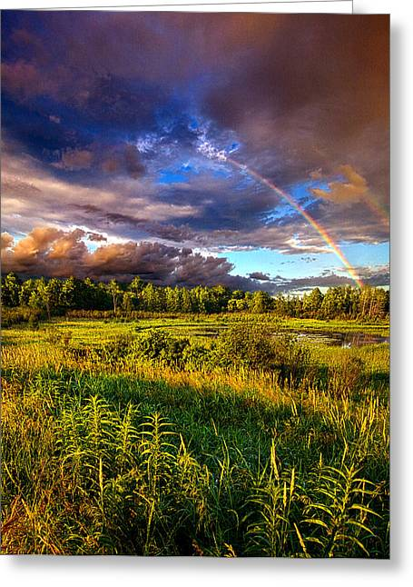 Rainbow Photographs Greeting Cards - In The Beginning Greeting Card by Phil Koch