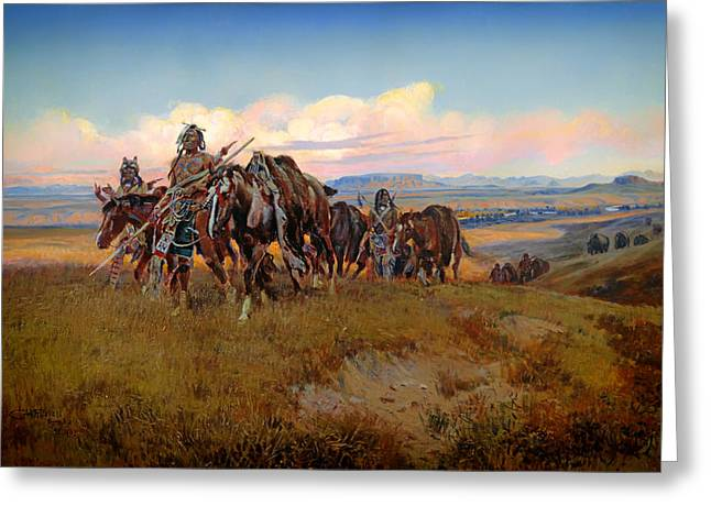 Prairie Sky Art Greeting Cards - In the Enemys Country Greeting Card by Charles Russell