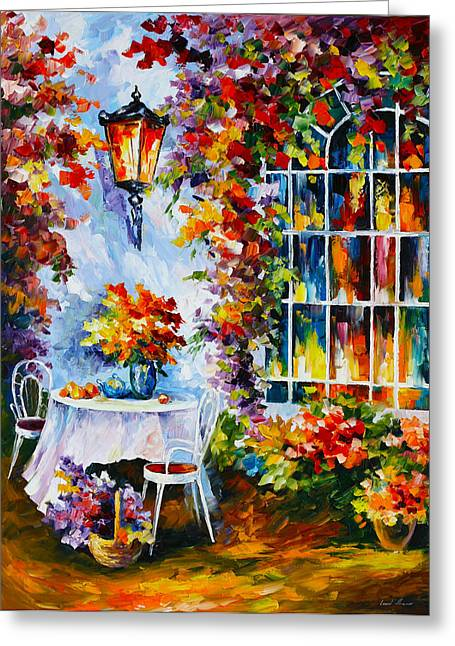 Hamper Greeting Cards - In The Garden Greeting Card by Leonid Afremov