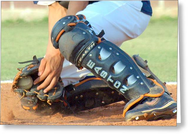 Shin Guard Greeting Cards - In the Mitt Greeting Card by Darrell Clakley