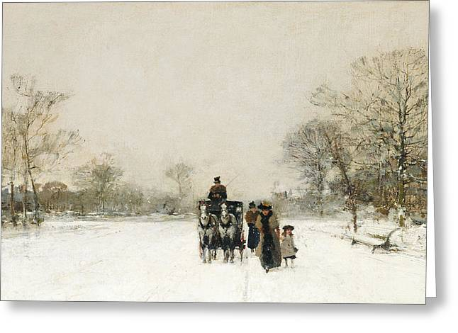 Winter Travel Paintings Greeting Cards - In the Snow Greeting Card by Luigi Loir