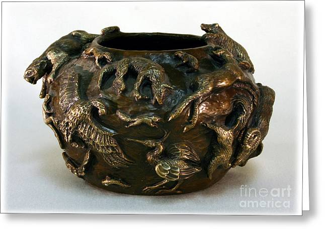 Rocky Mountain Reliefs Greeting Cards - In the Wild - Bronze Wildlife Bowl with Mountain Lion Greeting Card by Dawn Senior-Trask