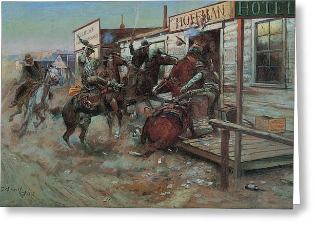 Equine Fine Art Greeting Cards - In Without Knocking Greeting Card by Charles M Russell