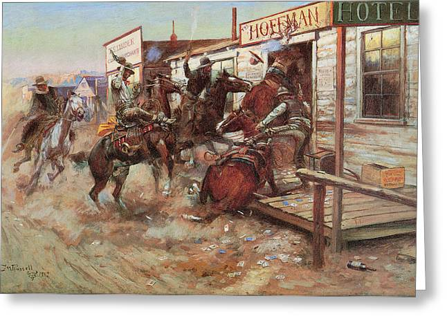 Without Action Greeting Cards - In Without Knocking Greeting Card by Charles Russell