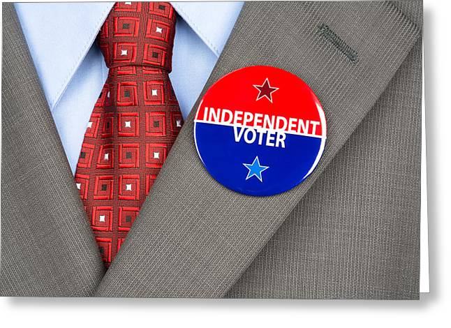 Voters Greeting Cards - Independent voter pin Greeting Card by Joe Belanger