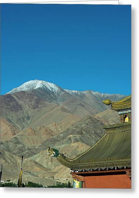 India, Ladakh, Leh, Shanti Stupa Greeting Card by Anthony Asael
