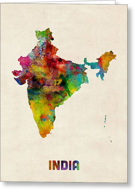 Ga Greeting Cards - India Watercolor Map Greeting Card by Michael Tompsett
