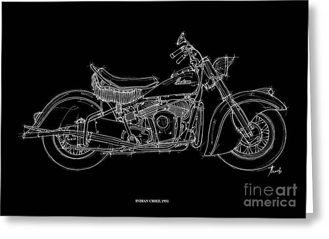1951 Drawings Greeting Cards - Indian Chief 1951 Greeting Card by Pablo Franchi