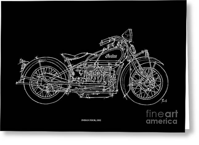 Motorcycles Pastels Greeting Cards - Indian Four 1932 Greeting Card by Pablo Franchi