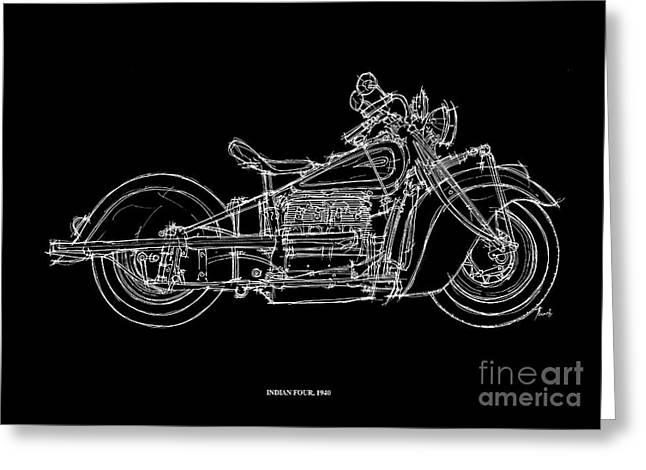 Motorcycle Pastels Greeting Cards - Indian Four 1940 Greeting Card by Pablo Franchi