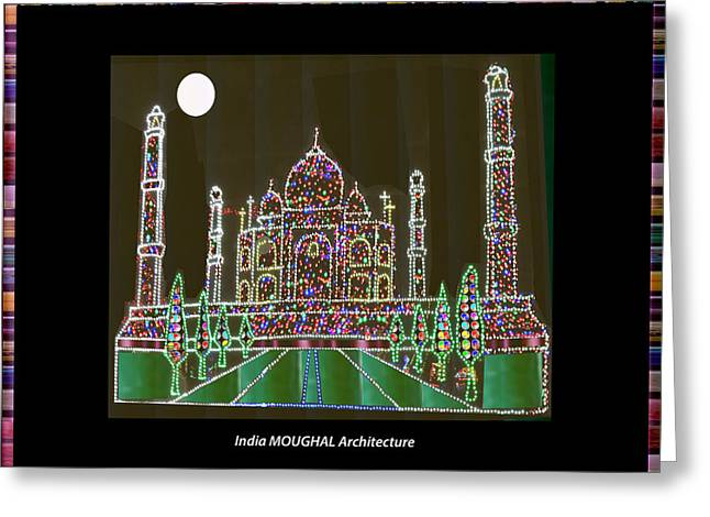 Historical Images Greeting Cards - Indian Historical Architectural Fame Palaces Buildings Masjids Mughal Moughal Empire Heritage of Ind Greeting Card by Navin Joshi