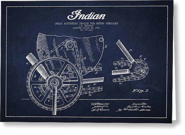 Motorcycle Digital Art Greeting Cards - Indian motorcycle Patent From 1902 Greeting Card by Aged Pixel