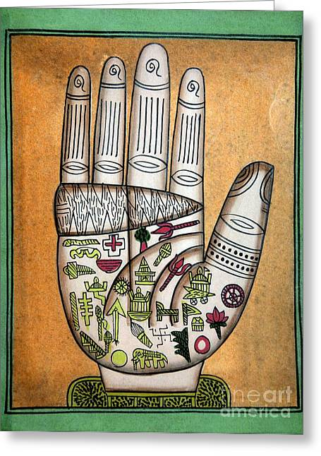 Palmistry Greeting Cards - Indian Palmistry Map Greeting Card by Victor de Schwanberg