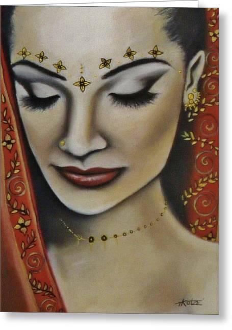 Princess Pastels Greeting Cards - Indian Princess Greeting Card by Treacey Kotze